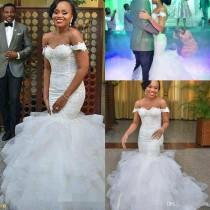 wedding photo -  Africa Off the Shoulder Mermaid Wedding Dresses Elegant Applique Ruffles Chapel Train Tulle Lace Up Custom Made Bridal Gowns Country Style 2017 Mermaid Wedding Dresses Online with 165.72/Piece on Hjklp88's Store