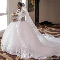 wedding photo -  Arabic South African Vintage Cap Sleeves Wedding Dresses Ball Gowns Appliques Lace Beaded Tulle Long Bridal Gowns Plus Size Cathedral Lace Wedding Dresses Mermaid Wedding Dress 2017 Wedding Dresses Online with 187.43/Piece on Hjklp88's Store