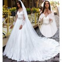 wedding photo -  A-line Wedding Dresses 2017 Scoop Long Sleeve Lace-up Bridal Gowns Sweep Train Lace And Applique Long Vestido De Noiva with Belt Train Wedding Dresses Lace Wedding Dresses 2016 Wedding Dresses Online with 180.58/Piece on Hjklp88's Store