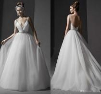 wedding photo -  Sexy V Neck Wedding Dress Spaghetti Straps Backless Beaded Sash Bridal Gowns Sweep Train Tulle Wedding Dresses Custom Made Train Wedding Dresses Lace Wedding Dresses 2016 Wedding Dresses Online with 182.86/Piece on Hjklp88's Store