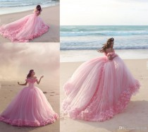 wedding photo -  Puffy 2016 Pink Quinceanera Dresses Princess Cinderella Formal Long Ball Gown Wedding Dresses Chapel Train Off Shoulder 3D Flower EN3176 Lace Wedding Dresses Mermaid Wedding Dress 2016 Wedding Dresses Online with 240.0/Piece on Hjklp88's Store