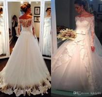 wedding photo -  Elegant Off Shoulder Lace Wedding Dresses with Long Sleeves 2016 Winter Spring Modest Western Country Church Bridal Gowns Vintage Beaded Online with 165.72/Piece on Hjklp88's Store