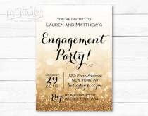 wedding photo - Engagement Party Invitation Printable, Black and Gold Engagement Invitation Template, Sparkle Engagement Invites, Glitter Engagement Invite
