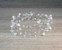 wedding photo - Silver Ivory Wedding Hair Vine, Wired Crystal Wedding Hair Accessory, Pearl Crystal Tiara, Bridal Headpiece, hair bun crown,  bridal crown