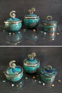 wedding photo - turquoise jars ceramic raku boxes, wedding ring box, ceramic jewelry box, ceramic container, pottery coffer oriental shape