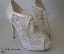 wedding photo - Wedding Shoes, Bridal Shoes, Bridesmaid Shoes, Bride Shoes, Handmade Shoes, GUIPURE Lace Wedding Shoes , Choose Heel Height And Color #8445