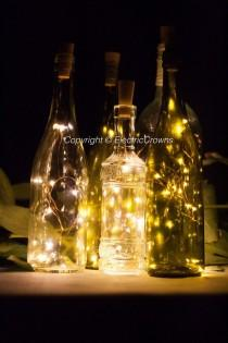 wedding photo - Wine Bottle Lights Table Decor
