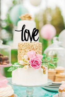 wedding photo - 'Love' Wedding Cake Topper Custom Design