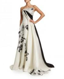 wedding photo - Strapless Black-Rose Gazar Gown