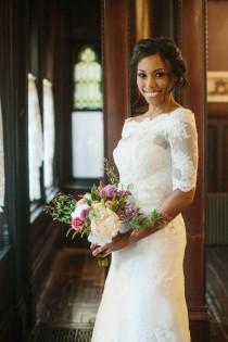 wedding photo - Lace wedding dress, strapless dress with beading details--KYLIE