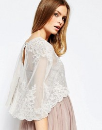 wedding photo - Premium Wedding Lace And Pleat Back Cape