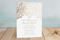 """wedding photo - """"Black Tie Wedding"""" - Customizable Foil-pressed Wedding Invitations In Gold By Chris Griffith"""