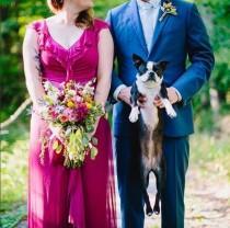wedding photo - Puppy bouquet & the unicorn cake