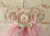 wedding photo - Tutu dress - Baby girl dress - Crochet dress - Baby girl tutu dress - Gray pink crochet dress - Baby crochet dress - Flower girl dress