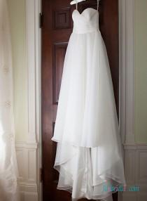 wedding photo - Simply sweetheart neck flowy chiffon beach wedding dress