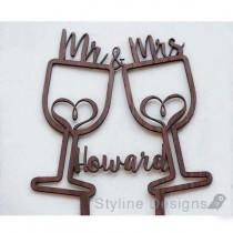wedding photo - Rustic Wine Cups with Hearts - Mr and Mrs - Personalized Name Wedding Cake Topper - Laser Cut Wood Cake Topper