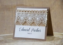 wedding photo - Rustic Place Cards, Lace Place Cards, Escort Cards, Wedding Place Cards, Burlap Place Card, Kraft Name Card, Rustic Chic Place Card