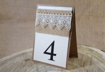 wedding photo - Rustic Table Number, Lace Table Number, Escort Cards, Wedding Table Numbers, Burlap Table Numbers, Kraft Table Number, Rustic Chic