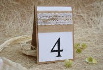wedding photo - Lace Table Number, Rustic Table Number, Escort Cards, Wedding Table Numbers, Burlap Table Numbers, Kraft Table Number, Rustic Chic