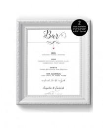 wedding photo - DIY Wedding Bar Menu Sign Printable, Bar sign, poster, Editable sign, Wedding Signage, Digital Instant Download,  Dangling Heart -1