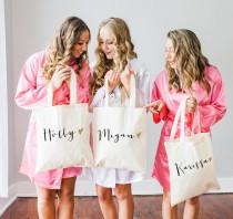 wedding photo - Personalized Bag Gift for Bridesmaids, Name Tote Bags Canvas w/Striped Ribbon Gift for Wedding Bridal Party, Birthday Gift ( Item - BPB300)