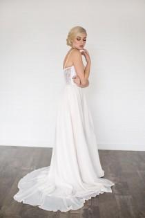 wedding photo - Daze Wedding Dress //Modern Boho Chiffon Wedding Dress / Sequin Sweet Heart Neckline with Illusion Lace Back/ Gathered Chiffon Flowing Skirt
