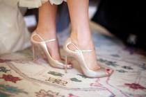 wedding photo - Gold Louboutin Peep Toe Shoes