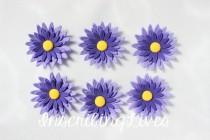 wedding photo - daisy fondant flowers 12 purple ombre edible flowers cake cupcake topper decorations wedding birthday bridal shower christening anniversary