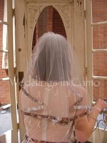 wedding photo - Camo Ribbon Single Layer Ribbon Trimmed Veil