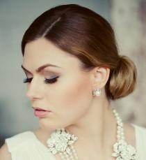 wedding photo - Wedding pearls stud earrings.  Bridal party. Crystal pearls wedding earrings.  Simple pearl stud earrings. Bridal jewelry. Wedding jewelry.