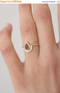 wedding photo - Pear shaped Engagement ring. 14k gold ring set with a pear shape Ruby. Wedding ring. Yellow gold. Alternative engagement ring. Handmade