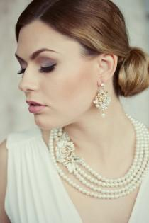 wedding photo - Victorians style four strands bridal pearls and gold crystal rose necklace and earrings set. bridal jewelry set. wedding pearls set.