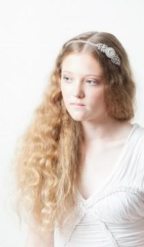 wedding photo - Art Deco Headpiece - Wedding Accessory- Crystal and pearl Side tiara - Bridal tiara -1930s Headpiece -1940s Headpiece-Uk
