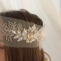 wedding photo - Bridal Headpiece Delicate Tulle Pearl Rhinestone Headpiece Fabric Headpiece Fine Tulle Boho Chic Headand Rustic Wedding Vintage Hair piece