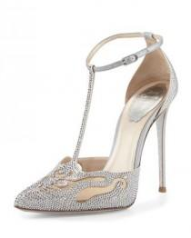 wedding photo - Crystal T-Strap Pointed-Toe Pump, Silver
