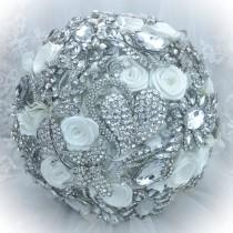 wedding photo - Classic Rich Pure White Lots of Crystals Bling Wedding Brooch Bouquet. DEPOSIT