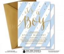 wedding photo - Boy BABY SHOWER INVITATION Blue Stripes Printable Baby Shower Invite Gold Glitter Its A Boy Calligraphy Free Shipping or DiY - Stella