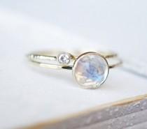 wedding photo - Rainbow Moonstone Ring Set, Moissanite Ring Set, Diamond Ring, Engagement Ring, Wedding Band, White Gold Ring, 14k Gold Ring, Stacking Rings