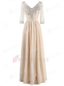 wedding photo - A-line V-neck Champagne 3/4 Sleeves Beaded Mother of the Bride Dress