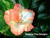 "wedding photo - HIBISCUS HAIR CLIP - Hawaiian, Orange Tropical Silk Flower, Headpiece, Bridal Flower Clip, ""Real Touch"", Faux crystal center, Beach Wedding"