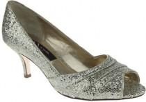 wedding photo - Nina Metallic Embossed Leather Peep Toe Pumps