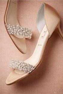 wedding photo - Ivory Bridal Shoes Uk  Gorgeous Wedding Shoes Summer Champagne High Heels Medium Length Decorated With Beading Pearls Open Toe High Heels Women Shoes Ivory Kitten Heel Wedding Shoes From Everytide, $89.01