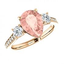 wedding photo - 10x7mm Pear Morganite & Diamond Engagement Ring, Morganite Anniversary Rings for Women 14k, Rose Gold, Pear Gemstone Rings, Gifts for Her