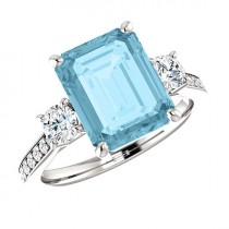 wedding photo - 10x8mm 3 carat Aquamarine & Diamond Platinum Ring, Aquamarine Anniversary Ring Aquamarine Engagement Rings for Women, Xmas Gifts for Her 3ct