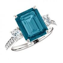 wedding photo - 10x8mm 3 carat London Blue Topaz & Diamond Platinum Ring Blue Topaz Anniversary Ring Topaz Engagement Rings for Women Xmas Gifts for Her 3ct