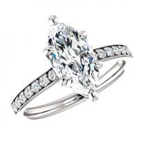 wedding photo - 1.80 Carat Marquise SUPERNOVA Moissanite & Diamond Engagement Ring 14k, 18k or Platinum, Moissanite Engagement Rings, Gifts for Women