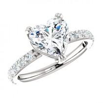 wedding photo - 1.80 Carat Heart SUPERNOVA Moissanite & Diamond Engagement Ring 14k, 18k or Platinum, Heart Shaped Engagement Rings for Women Christmas Gift