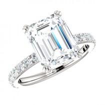 wedding photo - Platinum, 4.00 Carat Emerald-Cut SUPERNOVA Moissanite & Diamond Engagement Ring in Platinum, 10x8mm Emerald Moissanite Rings Cyber Monday
