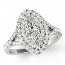 wedding photo - 1.80 Carat Marquise Supernova Moissanite & Diamond Double Engagement Ring 14k 18k Platinum Marquise Moissanite Engagement Rings Cyber Monday