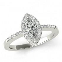 wedding photo - 1.80 ct Marquise Supernova Moissanite & Diamond Engagement Ring 14k, 18k or Platinum 12x6mm Marquise Moissanite Engagement RIngs for Women